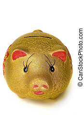 A stock photograph of a piggy bank.