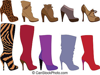 shoes and boots, vector - detailed shoe silhouettes, vector