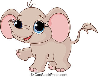 Cute baby elephant - Illustration of Cute and funny baby...