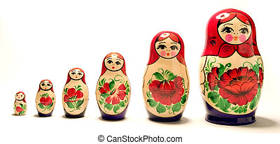 A stock photograph of a set of Russian Dolls.