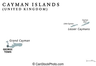 Cayman Islands political map with capital George Town....