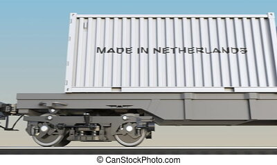 Moving cargo train and containers with MADE IN NETHERLANDS...