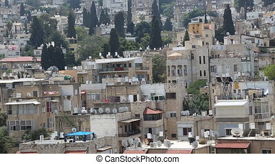 Panoramic view over mid Haifa old buildings - Shot of...