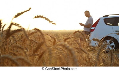 Panorama of man stuck with car in a wheat field - Shot of...