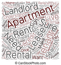 The Apartment Search text background wordcloud concept