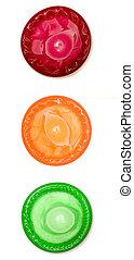 A stock photograph of a colour condom