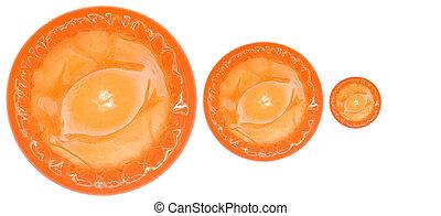 A stock photograph of a colour condom.