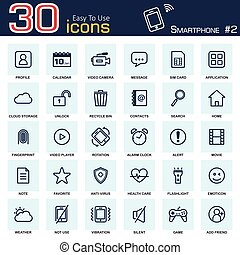 Smartphone system icon set 2 . outline style .
