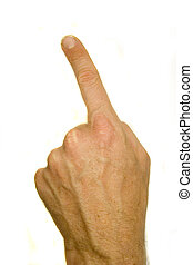 A stock photograph of a man's hand pointing.
