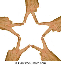 A stock photograph of five peoples hands making a five...