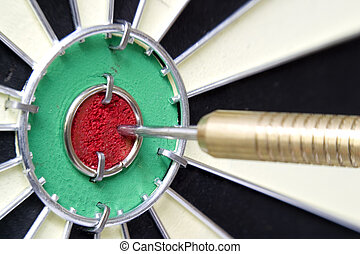 A stock photograph of a dart board with a dart hitting the...
