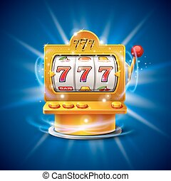 Golden slot machine wins the jackpot. Isolated on blue...