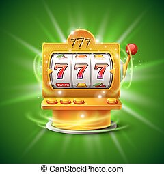 Golden slot machine wins the jackpot. Isolated on green...