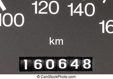 odometer of used car showing mileage of 160648 km