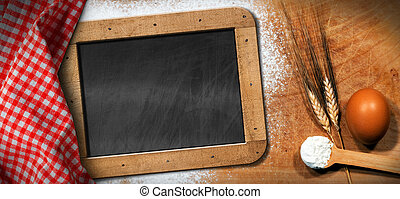 Empty Blackboard on a Baking Background