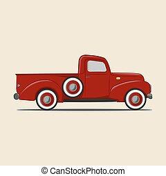 Retro pickup truck. Cartoon Icon. Vector Illustration