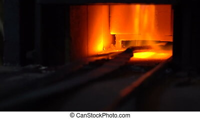 Gas furnace for heating metal in the smithy
