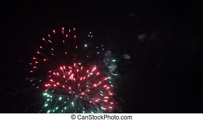Fireworks in the night sky - Volleys of celebratory...