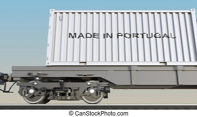 Moving cargo train and containers with MADE IN PORTUGAL...