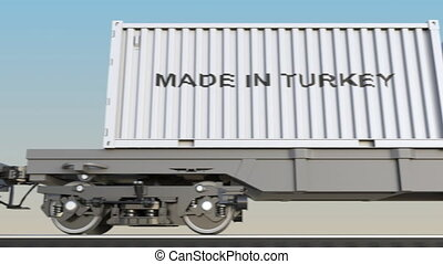 Moving cargo train and containers with MADE IN TURKEY...