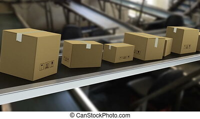 Packages on production line ready for delivery - Shot of...