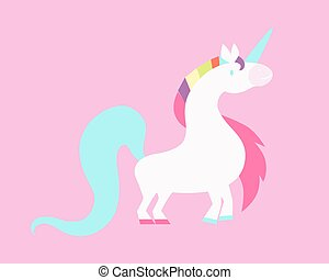 White unicorn on a pink background