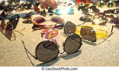 Eyes glass view shop - Eyeglasses on market and people hands