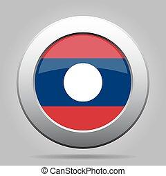 Flag of Laos. Shiny metal gray round button.