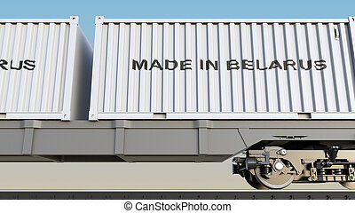 Cargo train and containers with MADE IN BELARUS caption....