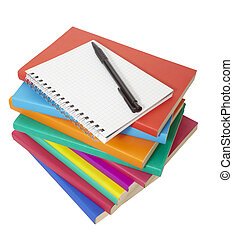 colorful books stack and notebook education - close up of...