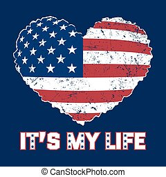 American flag heart grunge - American flag heart shaped on...