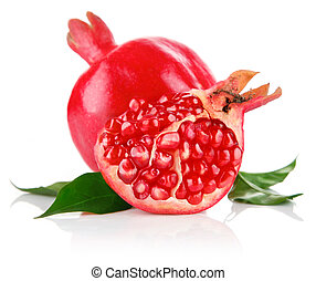 pomegranate fresh fruits with cut and green leaves