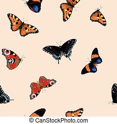 Blue butterflies seamless - Blue tropical butterflies and...