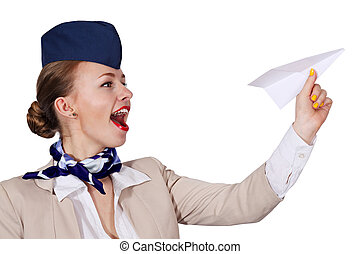 Air hostess holding a paper airplane - isolated over a white...