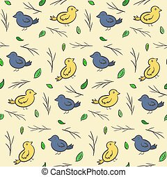 Hand drawn seamless pattern with colorful birds