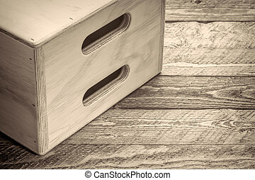 apple box - film set equipment, abstract in black and white...