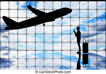 Business trip concept - Side view of abstract grid interior...