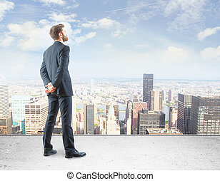 Research concept - Back view of young businessman standing...
