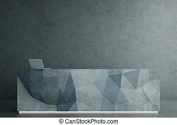 Polygonal reception desk - Abstract polygonal reception desk...