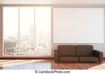 Interior with couch and blank banner - Sunlit interior with...