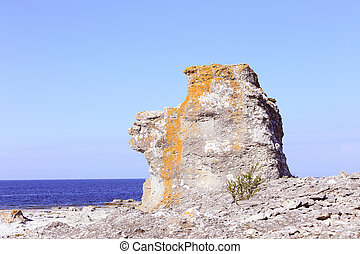 Sea stack - One sea stack at the Langhammars in Swedish...