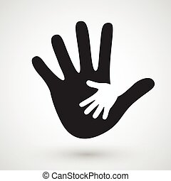 Helping hands icon. Care, adoption, pregnancy or family...