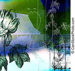 A collage using botanical and architectural elements to...
