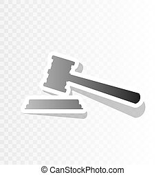 Justice hammer sign. Vector. New year blackish icon on transparent background with transition.