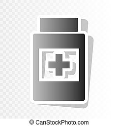 Medical container sign. Vector. New year blackish icon on transparent background with transition.
