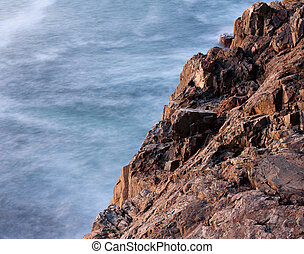 Otter Cliffs Rocks and Ocean Waves - Otter Cliffs rocks and...