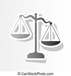 Scales of Justice sign. Vector. New year blackish icon on...