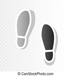 Imprint soles shoes sign. Vector. New year blackish icon on...