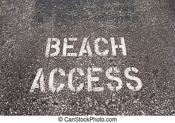 Beach Access Sign in Oahu Hawaii - Beach access sign...