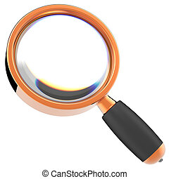 Magnifying glass Hi-Res - Shiny orange Magnifying glass with...